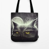 owl Tote Bags featuring Owl & The Moon by Dr. Lukas Brezak