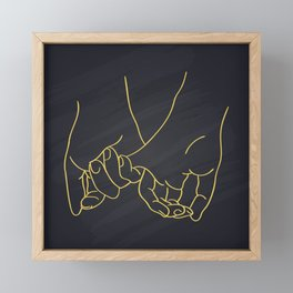 Friendship and love hands concept continuous line drawing Framed Mini Art Print