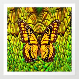 FANTASY YELLOW MONARCH BUTTERFLY LIME COLOR Art Print