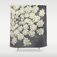 flora Shower Curtains featuring Black and White Queen Annes Lace by Erin Johnson
