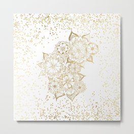 Hand drawn white and gold mandala confetti motif Metal Print
