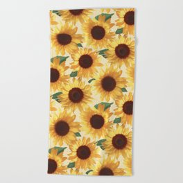 Happy Yellow Sunflowers Beach Towel