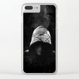 Victorian Assassin Hood - B&W Clear iPhone Case