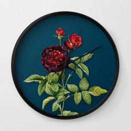 Vintage Floral One Hundred Leaved Rose Botanical on Teal Wall Clock