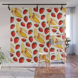 Strawberry Banana Pattern - White Wall Mural