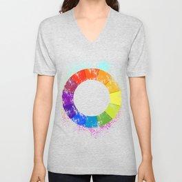Art Teacher Gift Color Circle Palette Painter Artist Present Unisex V-Neck