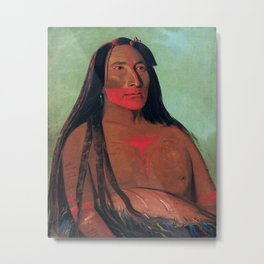 Máh-to-tóh-pa, Four Bears, Second Chief in Mourning, George Catlin Metal Print