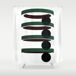 Geometric coloured architectural but abstract urban circles and elipses in green  and red graphic Shower Curtain