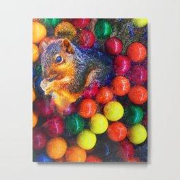 Modern Art Print Of Squirrel In Gumballs Metal Print