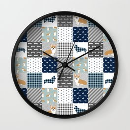 Corgi Patchwork Print - navy, dog, buffalo plaid, plaid, mens corgi dog Wall Clock