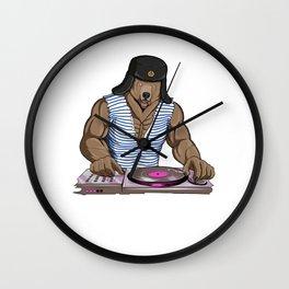 Russia Disc Jockey Bear Wall Clock