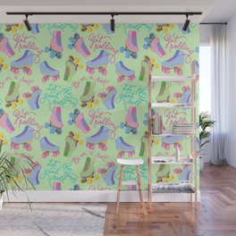 Roller Skates Pattern (Green Background) Wall Mural