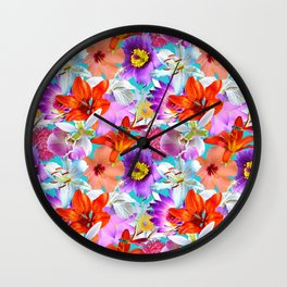 Tropical Floral Study in Turquoise Wall Clock