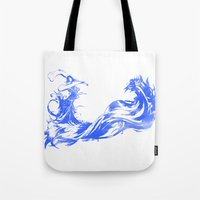 final fantasy Tote Bags featuring FINAL FANTASY X  by DrakenStuff+