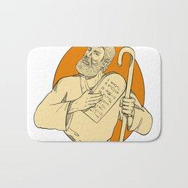 Prophet Moses Ten Commandments Drawing Color Bath Mat