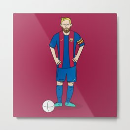 Lionel Messi - Red Metal Print