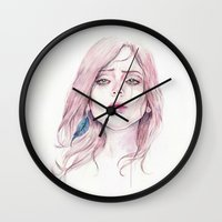 ultraviolence Wall Clocks featuring You're Pretty When You Cry by André Luiz Barbosa