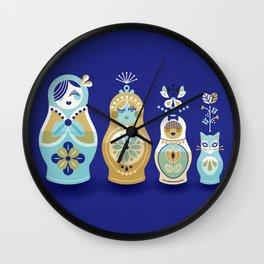 Russian Nesting Dolls – Navy Wall Clock