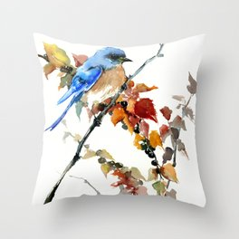Bluebird on Fall Tree Throw Pillow