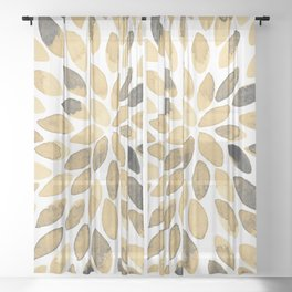 Watercolor brush strokes - neutral Sheer Curtain
