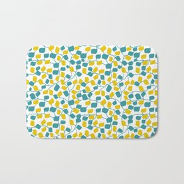 Branches and Leaves in Teal and Yellow Bath Mat
