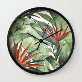 Tropical Flora I Wall Clock