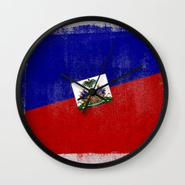 Haitian Distressed Halftone Denim Flag Wall Clock