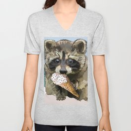 Raccoon Eating Ice-cream on the Beach | Summer Vacation | Cute Baby Animal Unisex V-Neck