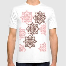 Brown Floral Pattern Mens Fitted Tee White MEDIUM