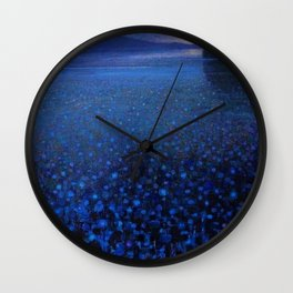 'Duckweed in Lake in Blue Twilight' landscape painting by K. Yamashita Wall Clock