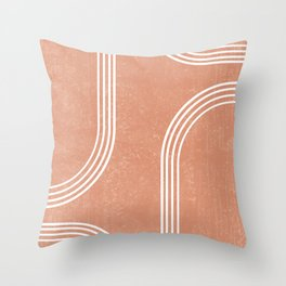 Mid Century Modern 2 - Geometrical Abstract - Minimal Print - Terracotta Abstract - Burnt Sienna Throw Pillow
