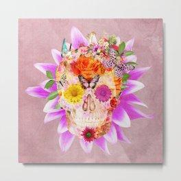 Fruity Psychedelic Skull   Pink Purple Girly Sugar Skull cute Butterfly Flowers Metal Print