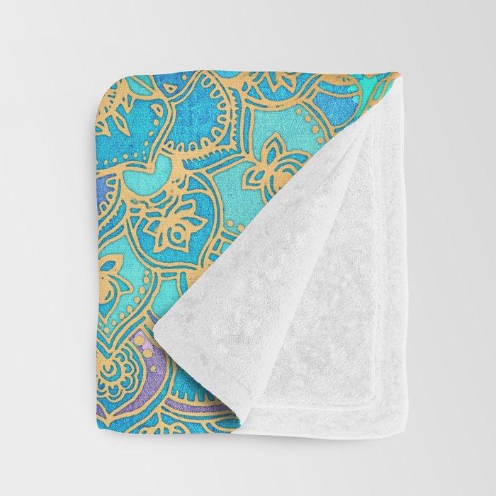 Sapphire & Jade Stained Glass Mandalas Throw Blanket