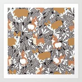 Corgi dogs Art Print