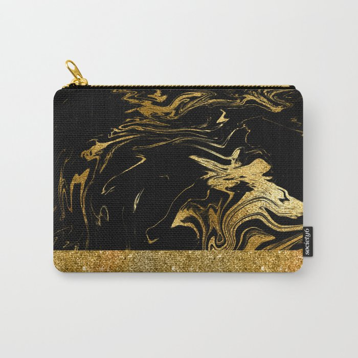 Luxury and glamorous gold glitter and black marble Carry-All Pouch