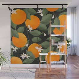fresh citrus // dark Wall Mural