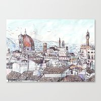magnani Canvas Prints featuring Florence at Dusk from Palazzo Magnani Feroni by John Douglas