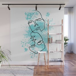 Two Faced Line Art in Blue Wall Mural