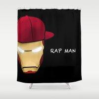 rap Shower Curtains featuring Rap man by Tony Vazquez