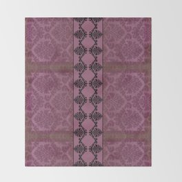 AGED PARCHMENT DAMASK, CUT VELVET in ROSE Throw Blanket