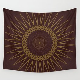Golden Star Burgundy Wine Mandala Wall Tapestry