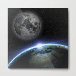 Earth and moon Metal Print