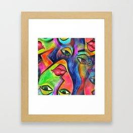Vibrant Watercolor Female Face Framed Art Print
