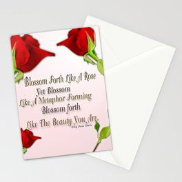 Red, Rose And pink With Quote Stationery Cards