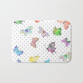 Colorful pink teal watercolor hand painted butterfly polka dots Bath Mat