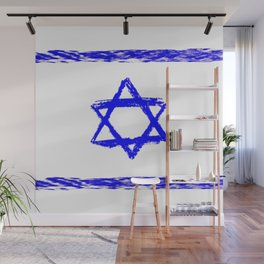 flag of israel 9- יִשְׂרָאֵל ,israeli,Herzl,Jerusalem,Hebrew,Judaism,jew,David,Salomon. Wall Mural