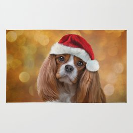 Drawing Dog breed Cavalier King Charles Spaniel  in red hat of Santa Claus Rug