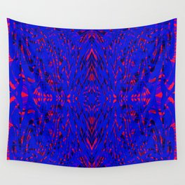 blue on red symmetry Wall Tapestry