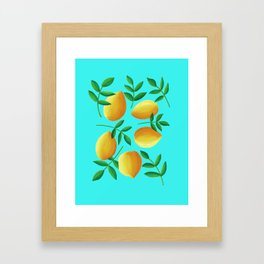 Lemons on Teal Framed Art Print
