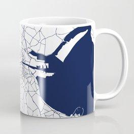 White on Navy Blue Dublin Street Map Coffee Mug